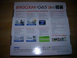 MSI 890GXM-G65 Box Back