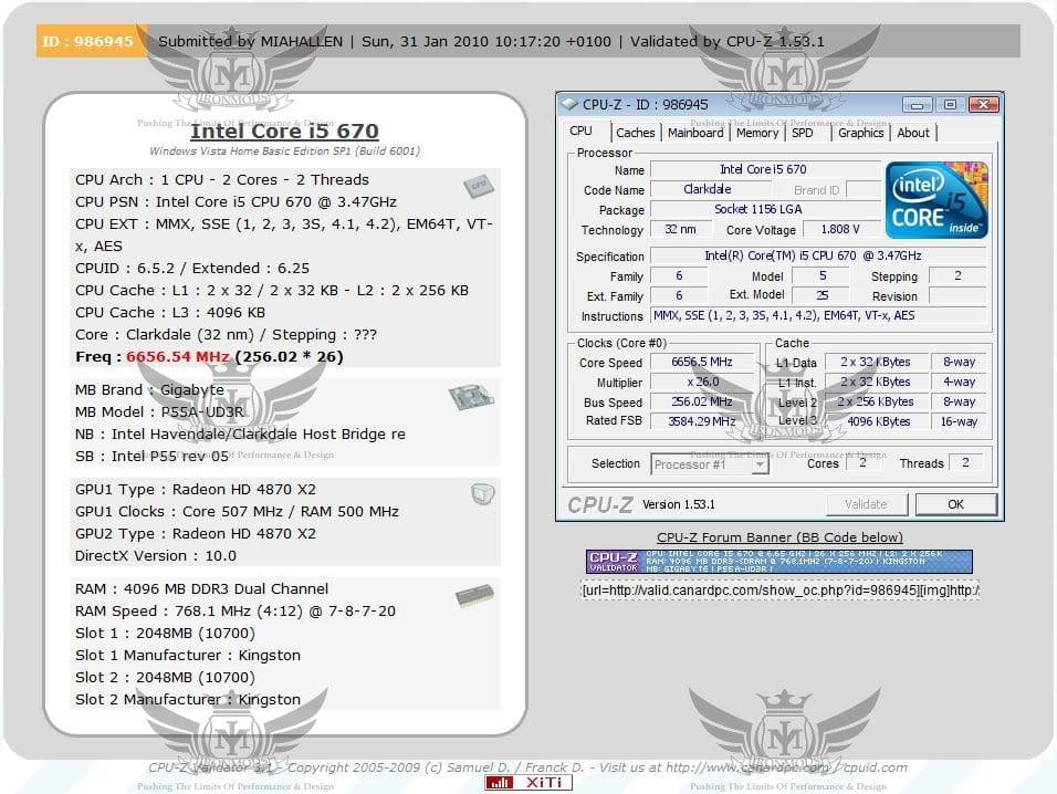 UD3R + i5 670 in CPU-Z