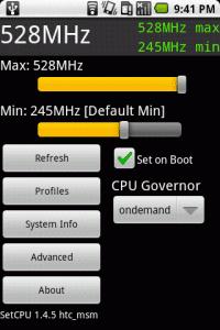 The main SetCPU screen