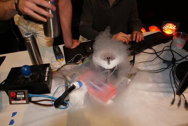 A bit of LN2 boil off. - Image courtesy Kingston