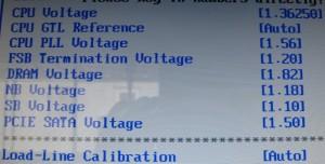 Screenshot of vcore and LLC setting