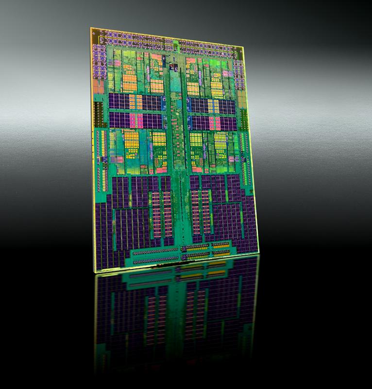 Phenom II x4 Die (Photo Courtesy AMD)