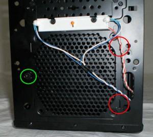 Door to access front fan. RED = hinge/tabs, GREEN = thumbscrew.