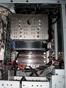 Inside case with 120 X 38 mm fan mounted using the Venomous X fan clips.