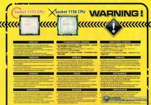 LGA 1155 CPU Socket warning