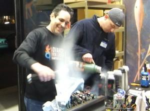 Fugger lending a hand filling the pots