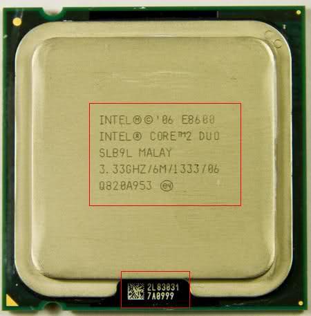 Intel CPU markings