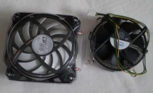 Freezer Pro 11LP next to stock s775 cooler