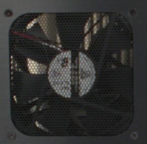 Closeup of top mount fan from outside of case