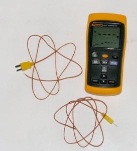 The Fluke Model 52-2 I'm using for monitoring case intake temps