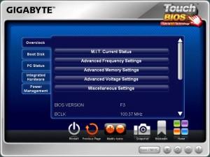 Touch BIOS Overclock Screen