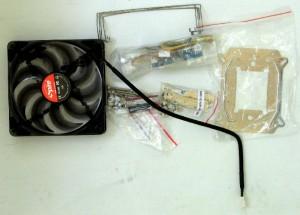 Fan & mounting hardware inside parts box.