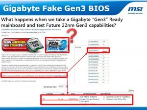 Gigabyte Fake Gen3 BIOS (Courtesy MSI)