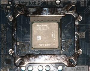Mounting hardware on an AMD board.