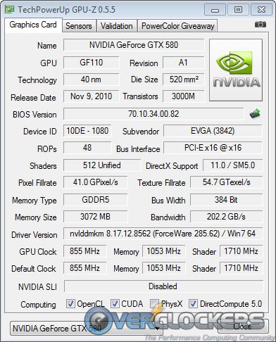 EVGA GTX580 Classified Specs