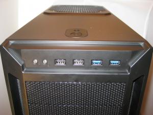 Front panel I/O (2 USB3, 2USB2, Heaphone/Mic jacks, Power/drive activity lights