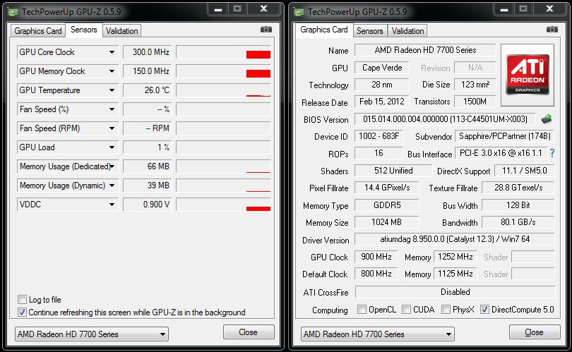 Sapphire HD7750 Ultimate - GPUz