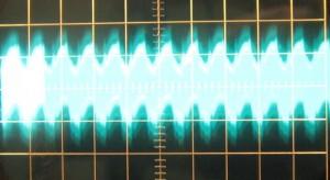 12 V full unit load ripple, ~75 mV (scope: 10 ms / 20 mV)