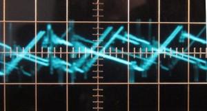 3.3 V low load ripple, ~21 mV (scope: 1 µs / 10 mV)