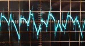 3.3 V full unit load ripple, ~37 mV (scope: 5 µs / 10 mV)