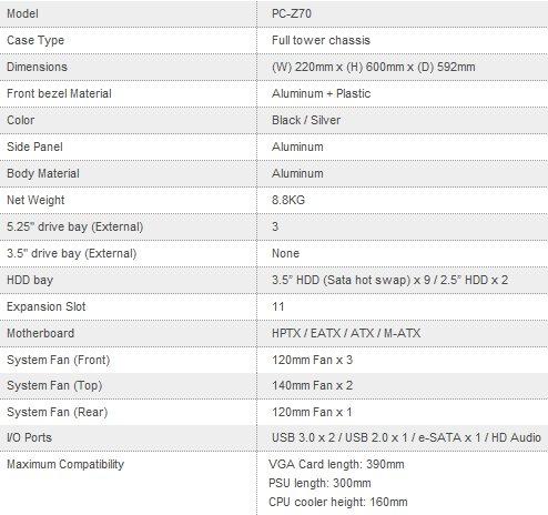Lian Li PC-Z70 Specifications
