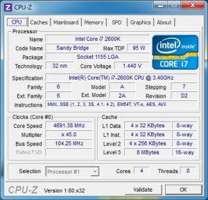 Overclocked CPUz CPU tab.