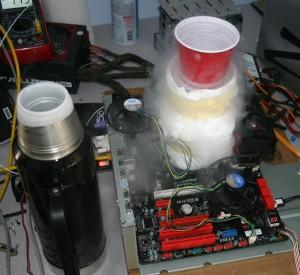 Full Pot of Liquid Nitrogen after a few hours of running, just a little cold
