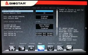 Boot tab of BIOS