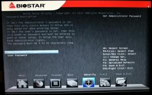 Security tab of BIOS