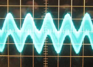 576 W 12 V crossload, ~45 mV of ripple. Scope at 5ms/10mV.