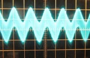 0 W load, ~44 mV of ripple. Scope at µs/10mV.
