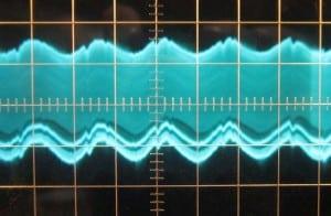 576 W 12 V crossload, ~35mV of ripple. Scope at 5ms/10mV.