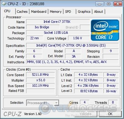 CPUz Valid @ 5211.8 MHz