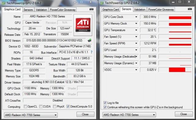 GPU-Z Graphics Card and Sensors Tab