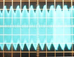 12 V rail, ~53 mV of ripple. Scope at 10mv/div and 10ms/div