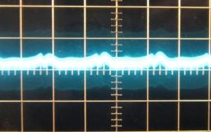 3.3 V rail, ~18 mV of ripple. Scope at 10mv/div and 10ms/div