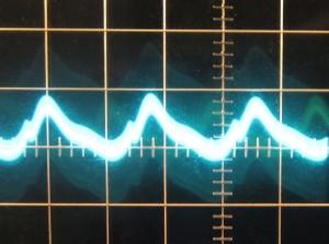 5 V rail, ~28 mV of ripple. Scope at 10mv/div and 10ms/div