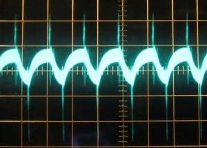 5 V rail, ~51 mV of ripple. Scope at 10mV/div and 10μs/div