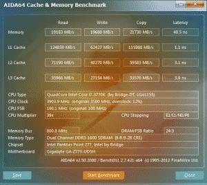 AIDA64 Memory Benchmark - Stock
