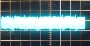 5 V rail ripple at watts load, scope at 10mV/10ms.
