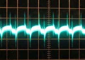 3.3 V full unit load ripple, cold, ~34 mV.