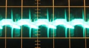 3.3 V rail ripple with a 12 V crossload, hot, ~90 mV