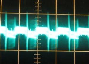 3.3 V ripple with 12 V crossload, cold, ~110 mV