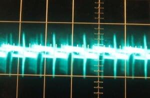 5 V rail ripple with a 12 V crossload, hot, ~85 mV