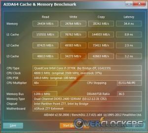 AIDA64 Cache & Memory Benchmark Overclocked