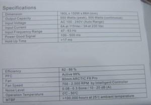 The specs sheet