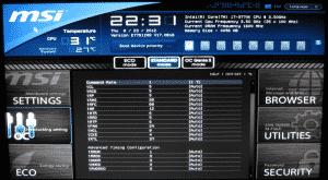 Ram timings configuration