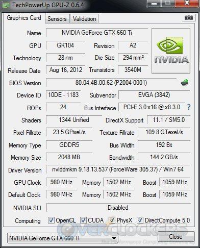 EVGA GTX 660 Ti SC - Stock GPUz