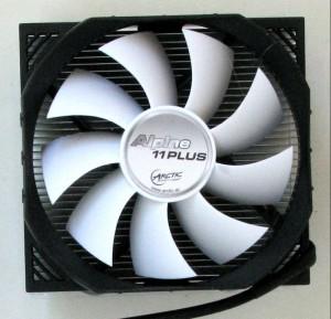 Top shot of heatsink with fan mounted.