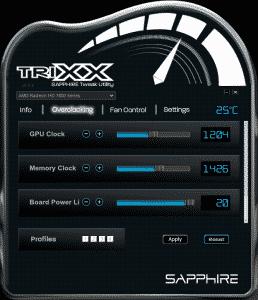 Sapphire Trixx - Overclocking adjustments